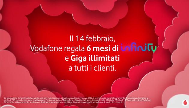 Vodafone per San Valentino: Giga Illimitati e i primi 6 mesi di Infinity gratis