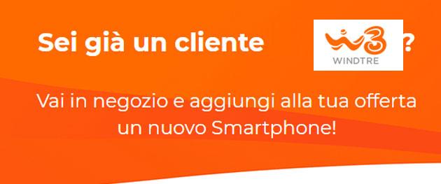 WindTre offre smartphone a prezzo speciale per i clienti con offerta Voce e Dati da almeno sei mesi