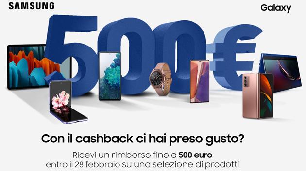 Samsung Cashback Febbraio 2021: fino a 500 euro di rimborso su una selezione di prodotti Galaxy