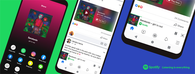 Foto Miniplayer Spotify in Facebook su iOS e Android
