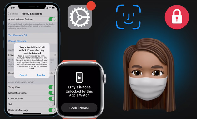 Foto Come sbloccare iPhone con Apple Watch quando si indossa una mascherina