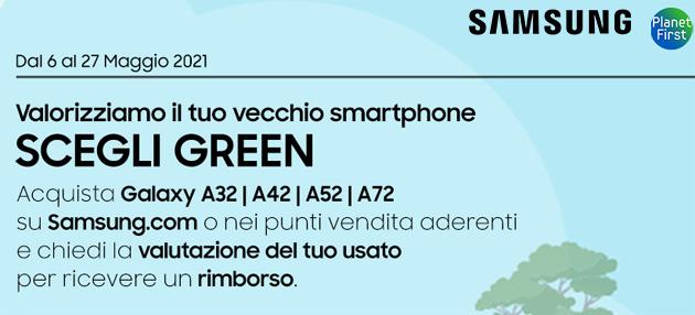 Samsung con 'Scegli Green' valuta lo smartphone usato fino a 300 euro con acquisto di Galaxy A72, A52 o A32