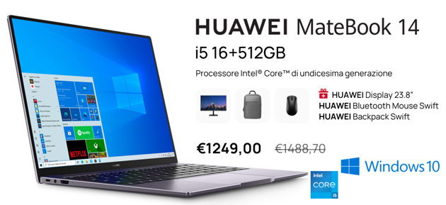 Huawei lancia MateBook 14 2021 con processore Intel Core di 11a generazione