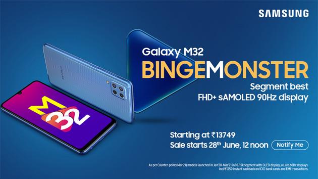 Samsung Galaxy M32 ufficiale con batteria 6000mAh, display Super Amoled 6,4 e camera da 64MP