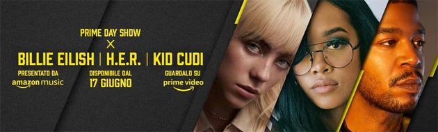 Amazon presenta Prime Day Show con Billie Eilish, H.E.R. e Kid Cudi, e Prime Day Live Italia con Gaia e i Pinguini Tattici Nucleari