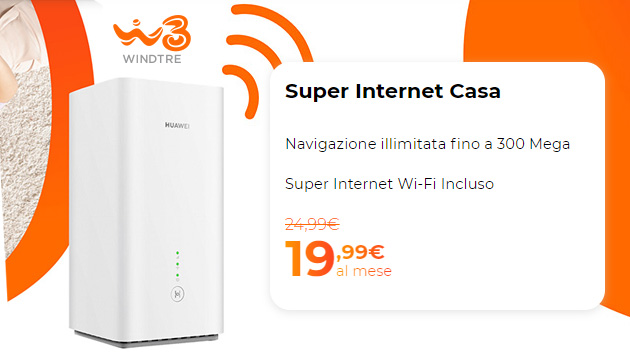 WindTre Super Internet Casa, offerta su tecnologia FWA per navigare fino a 300Mbps da 19,99 euro al mese