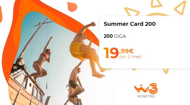 WindTre Summer Card Estate 2021: fino a 200 Giga di Internet per 2 mesi a 19,99 euro