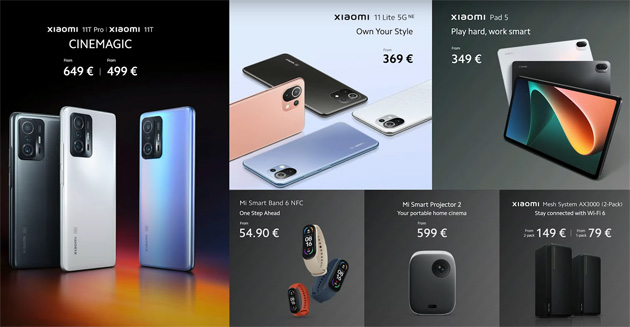 Xiaomi lancia 11T e 11T Pro, Pad 5, Smart Band 6 NFC, Smart Projector 2 e 11 Lite 5G NE
