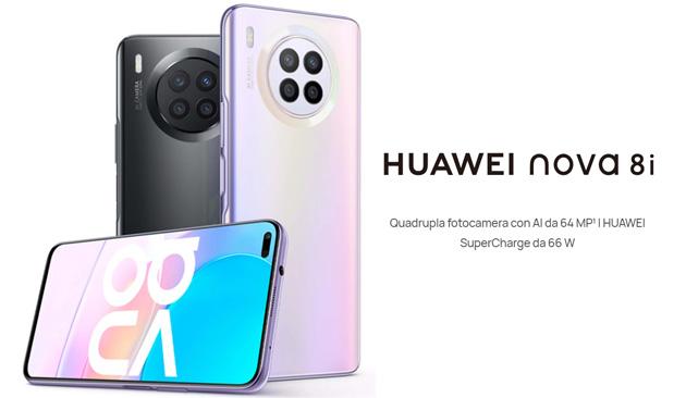 Huawei Nova 8i con ampio display 6.67, 64MP in Quad-Camera e batteria da 4300mAh ufficiale in Italia, con regali per i primi acquirenti